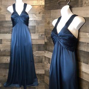 BCBG Maxazria Floor Length Navy Blue Dress